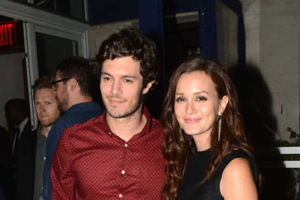 "Adam Brody and Leighton Meester attend The Cinema Society with The Hollywood Reporter & Samsung Galaxy S III host a screening of ""The Oranges"" After Party at Jimmy's at James Hotel on September 14, 2012 in New York City."