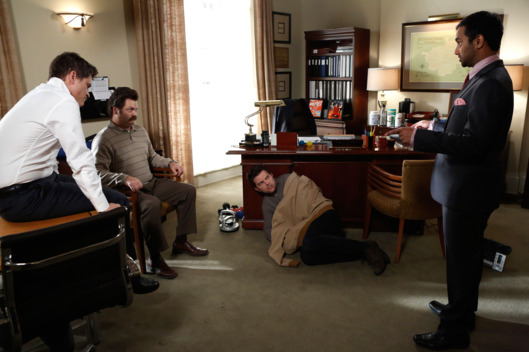 "PARKS AND RECREATION -- ""Ann's Decision"" Episode 511 -- Pictured: (l-r) Rob Lowe as Chris Traeger, Nick Offerman as Ron Swanson, Adam Scott as Ben Wyatt, Aziz Ansari as Tom Haverford"