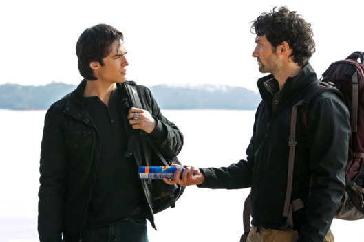 "The Vampire Diaries -- ""Into the Wild""-- Pictured (L-R): Ian Somerhalder as Damon and David Alpay as Professor Shane"