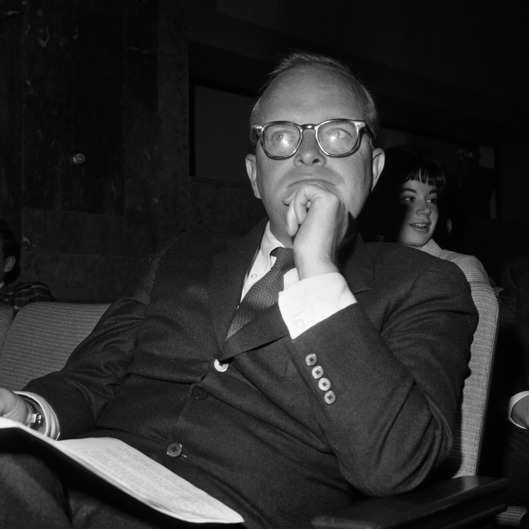 "Truman Capote of New York City, author of the book ""In Cold Blood"", waits in the hearing room to testify before the Senate Subcommittee on Constitutional Amendments, July 21, 1961. (AP Photo/Henry Griffin)"