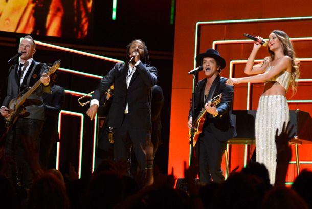 LOS ANGELES, CA - FEBRUARY 10:  Sting, Ziggy Marley, Bruno Mars and Rihanna perform onstage during the 55th Annual GRAMMY Awards at STAPLES Center on February 10, 2013 in Los Angeles, California.  (Photo by Kevin Mazur/WireImage)