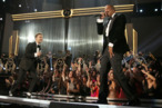 LOS ANGELES, CA - FEBRUARY 10:  Singer Justin Timberlake (L) and rapper Jay-Z perform onstage during the 55th Annual GRAMMY Awards at STAPLES Center on February 10, 2013 in Los Angeles, California.  (Photo by Christopher Polk/Getty Images for NARAS)