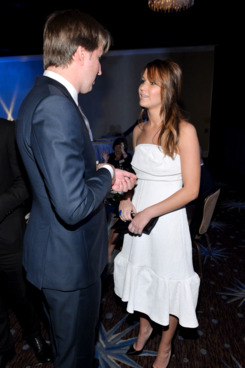 Actress Jennifer Lawrence (R) and Director Tom Hooper attend the 85th Academy Awards Nominations Luncheon at The Beverly Hilton Hotel on February 4, 2013 in Beverly Hills, California.