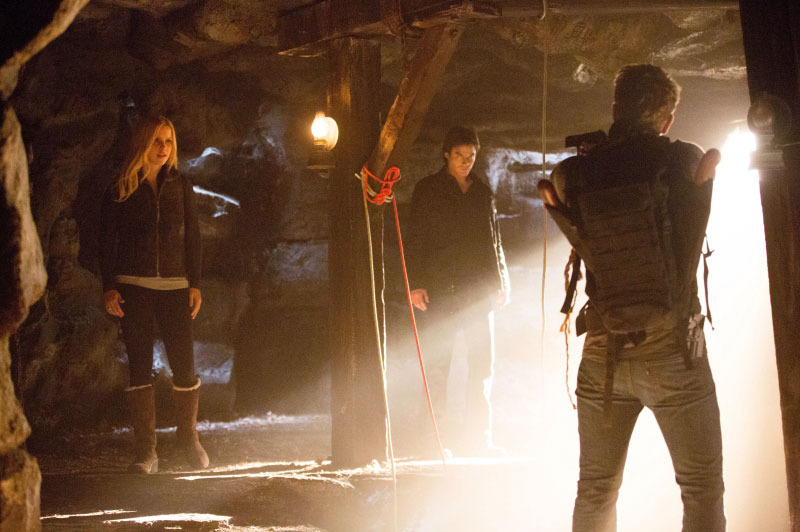 "The Vampire Diaries -- ""Down the Rabbit Hole"" -- Pictured (L-R): Claire Holt as Rebekah, Ian Somerhalder as Damon, and Charlie Bewley as Vaughn"