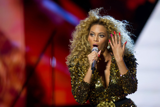 Beyonce performs live on the pyramid stage during the Glastonbury Festival at Worthy Farm, Pilton on Jun