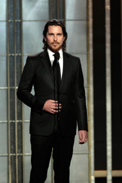 In this handout photo provided by NBCUniversal,  Actor Christian Bale on stage to present during  the 70th Annual Golden Globe Awards at the Beverly Hilton Hotel International Ballroom on January 13, 2013 in Beverly Hills, California.