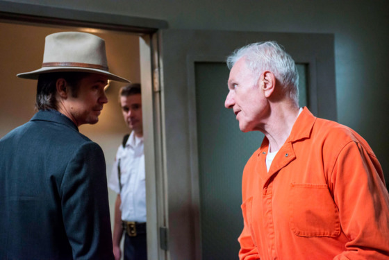 JUSTIFIED -- Money Trap -- Episode 7 (Airs Tuesday, February 19, 10:00 pm e/p) -- Pictured: (L-R) Timothy Olyphant as Deputy U.S. Marshal Raylan Givens, Raymond J. Barry as Arlo Givens
