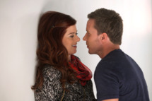 "SMASH -- ""The Workshop"" Episode 107 -- Pictured: (l-r) Debra Messing as Julia Houston, Will Chase as Michael Swift"