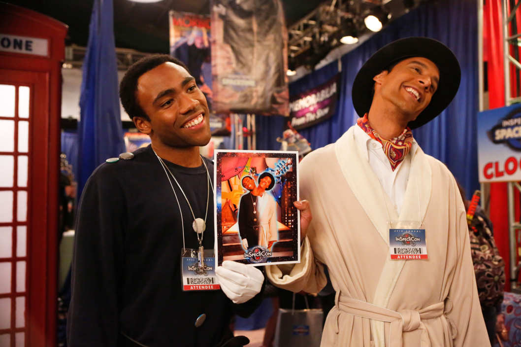 "COMMUNITY -- ""Conventions of Space and Time"" Episode 404 -- Pictured: (l-r) Donald Glover as Troy, Danny Pudi as Abed -- (Photo by: Vivian Zink/NBC)"