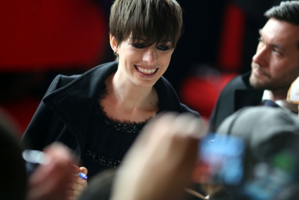 US actress Anne Hathaway arrives for the premiere of the movie 'Les Miserables' during the 63rd annual Berlin International Film Festival, in Berlin, Germany, 09 February 2013. The movie is presented in section Berlinale Special.