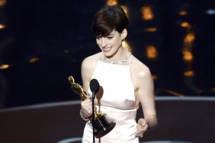"Actress Anne Hathaway accepts the Best Supporting Actress award for ""Les Miserables"" onstage during the Oscars held at the Dolby Theatre on February 24, 2013 in Hollywood, California."
