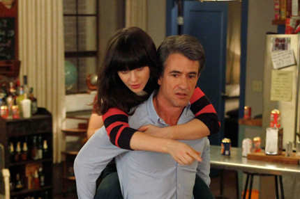 "NEW GIRL:  The gang plays drinking games when Jess (Zooey Deschanel, L) invites Russell (guest star Dermot Mulroney, R) to spend the weekend at the loft in the ""Normal"" episode of NEW GIRL airing Tuesday, April 10 (9:00-9:31 PM ET/PT)"