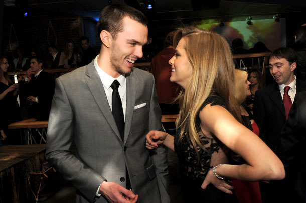 "Actors Nicholas Hoult (L) and Teresa Palmer pose at the after party for the premiere of Summit Entertainment's ""Warm Bodies"" at The Colony on January 29, 2013 in Los Angeles, California."