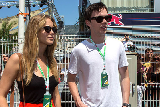 MONTE-CARLO, MONACO - MAY 26:  Jennifer Lawrence and Nicolas Hoult visit the Formula One paddock on May 26, 2012 in Monte-Carlo, Monaco.  (Photo by Didier Baverel/WireImage)