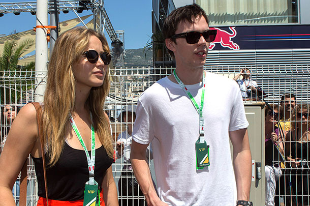 Jennifer Lawrence and Nicolas Hoult visit the Formula One paddock on May 26, 2012 in Monte-Carlo, Monaco.