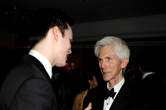 Nicholas Hoult and Richard Buckley attend the BAFTA Soho House Grey Goose after party at the Grosvenor House Hotel on February 21, 2010 in London, England.