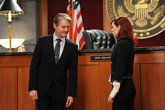 """Going for the Gold""-- AUSA Josh Perrotti (Kyle MachLachlan, left) and Elsbeth Tascioni (Carrie Preston, right) face off in two separate courtrooms, on THE GOOD WIFE, Sunday March 3 (9:00-10:00 PM, ET/PT)"
