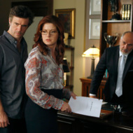 "SMASH -- ""The Read Through"" Episode 205 -- Pictured: (l-r) Jack Davenport as Derek Wills, Debra Messing as Julia Houston, Michael Christofer as Jerry"