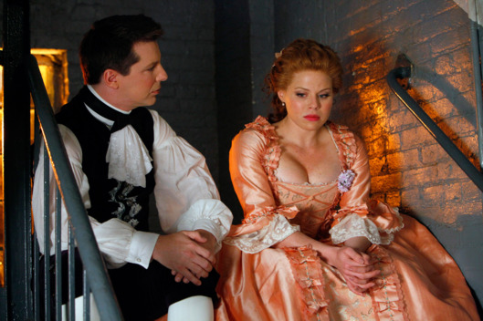 "SMASH -- ""The Fringe"" Episode 206 -- Pictured: (l-r) Sean Hayes as Terry Falls, Megan Hilty as Ivy Lynn"