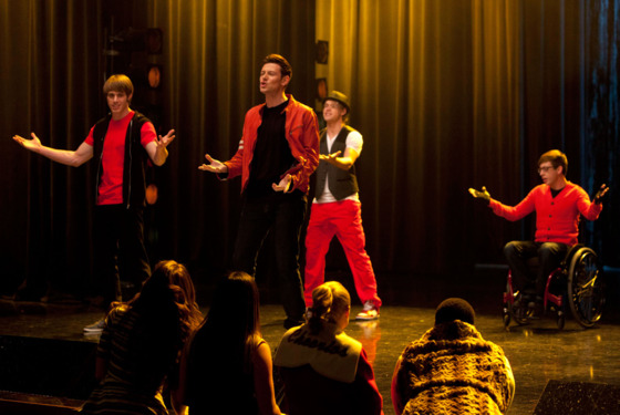 GLEE: Finn (Cory Monteith, C), Ryder (Blake Jenner, L), Sam (Chord Overstreet, third from L) and Artie (Kevin McHale, R) perform in the &quot;Feud&quot; episode of GLEE  airing on Thursday, March 14  (9:00-10:00 PM ET/PT)