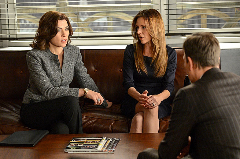 """Invitation to an Inquest"" – Alicia (Julianna Margulies, left) and Will – (Josh Charles, right) latest case brings them to an inquest at the coroner's office, where they are hindered by a bizarre rule limiting their questioning to three per witness, on THE GOOD WIFE, Sunday March 17 (9:00-10:00 PM, ET/PT) on the CBS Television Network Network. Also pictured: Jessalyn Gilsig as Janie Ludwig (center)"