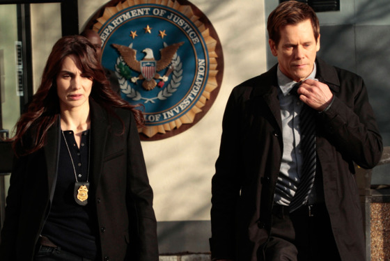 THE FOLLOWING: Special Agent Parker (Annie Parisse, L) and Ryan  (Kevin Bacon, R) leave the FBI bureau in the &quot;Love Hurts&quot; episode of THE FOLLOWING airing Monday, March 18 (9:00-10:00 PM ET/PT)
