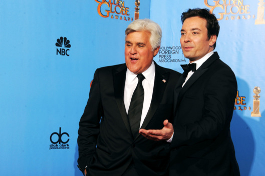 TV personalities Jay Leno (R) and Jimmy Fallon pose in the press room during the 70th Annual Golden Globe Awards held at The Beverly Hilton Hotel on January 13, 2013 in Beverly Hills, California.