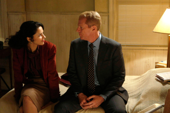 THE AMERICANS -- Mutually Assured Destruction -- Episode 8 (Airs Wednesday, March 20, 10:00 pm e/p) -- Pictured: (L-R) Annet Mahendru as Nina, Noah Emmerich as FBI Agent Stan Beeman