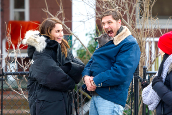 Noomi Rapace and Tom Hardy on the set of 'Animal Rescue' in Brooklyn, New York City.