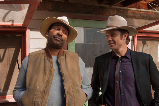 JUSTIFIED -- Peace of Mind -- Episode 12 (Airs Tuesday, March 26, 10:00 pm e/p) -- Pictured: (L-R) Mykelti Williamson as Ellstin Limehouse, Timothy Olyphant as U.S. Deputy Marshal Raylan Givens -- CR: Prashant Gupta/FX