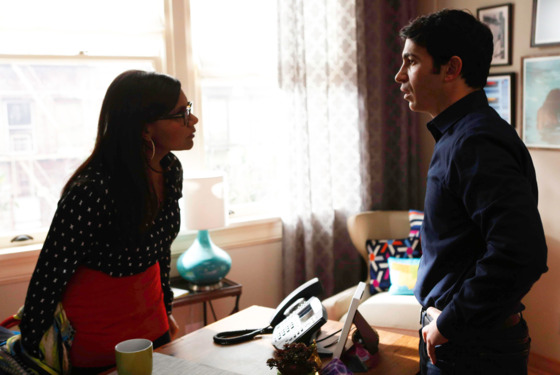THE MINDY PROJECT: Mindy (Mindy Kaling, L) and Danny (Chris Messina, R) argue about her dating in the &amp