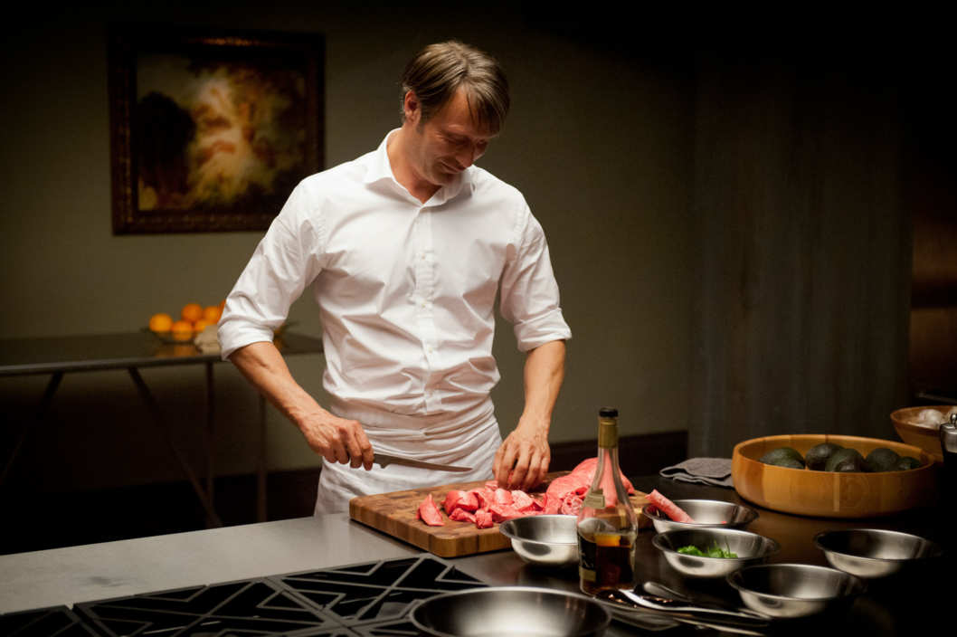 "HANNIBAL -- ""Apertif"" Episode 101 -- Pictured: Mads Mikkelsen as Dr. Hannibal Lecter -- (Photo by: Brooke Palmer/NBC)"