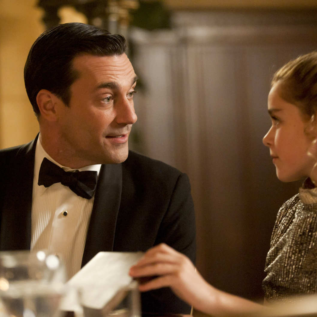 Don Draper (Jon Hamm) and Sally Draper (Kiernan Shipka) - Mad Men - Season 5, Episode 7 - Photo Credit: Ron Jaffe/AMC