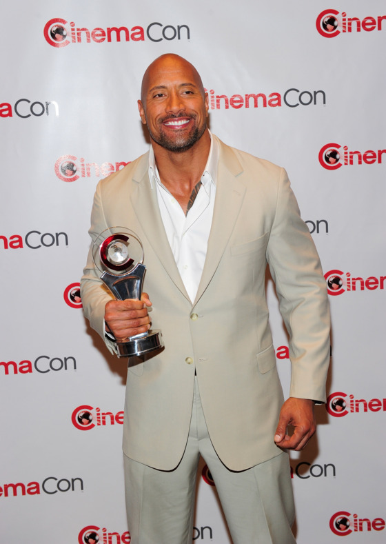 LAS VEGAS, NV - APRIL 23:  Actor Dwayne Johnson, recipient of the Action Star of the Decade Award, arrives at a Paramount Pictures and DreamWorks Animation event at Caesars Palace during the opening night of CinemaCon, the official convention of the National Association of Theatre Owners on April 23, 2012 in Las Vegas, Nevada.  (Photo by Steven Lawton/FilmMagic)