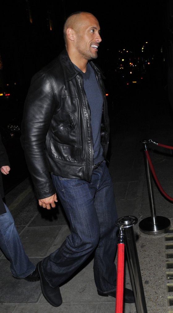 The Rock arrives in London and dines at Nobu ahead of his premiere.