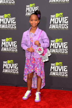 CULVER CITY, CA - APRIL 14:  Actress Quvenzhane Wallis arrives at the 2013 MTV Movie Awards at Sony Pictures Studios on April 14, 2013 in Culver City, California.  (Photo by Jason Merritt/Getty Images)