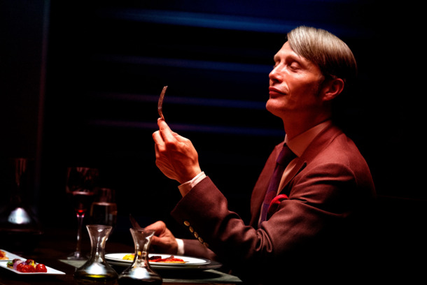 "HANNIBAL -- ""Apertif"" Episode 101 -- Pictured: Mads Mikkelson as Dr. Hannial Lecter -- (Photo by: Brooke Palmer/NBC)"