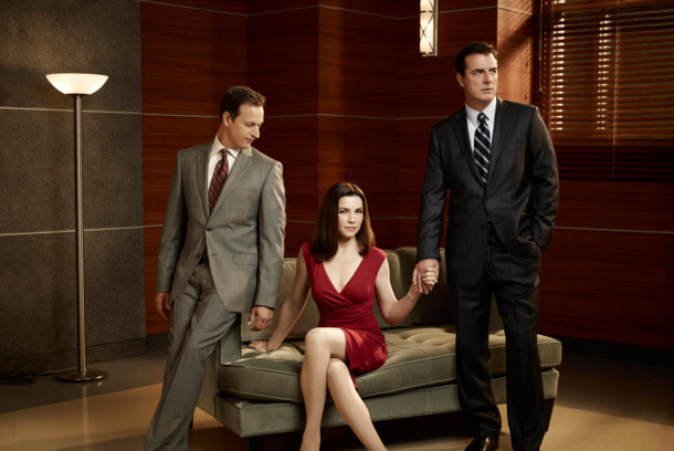 THE GOOD WIFE--Josh Charles as Will Gardener (left), Julianna Margulies as Alicia Florick, and Chris Noth as Peter Florick (right) of the CBS drama THE GOOD WIFE scheduled to air on the CBS Television Network. Photo: Justin Stephens/CBS ©2010 CBS Broadcasting Inc, All Rights Reserved.