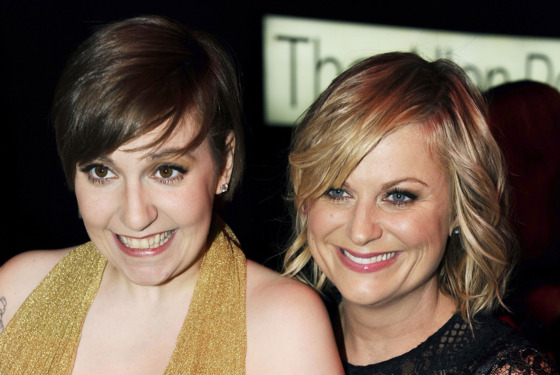 Lena Dunham, Amy Poehler==TIME 100 GALA: TIME'S 100 MOST INFLUENTIAL PEOPLE IN THE WORLD==Jazz at Lincoln Center, NYC==April 23, 2013==©Patrick McMullan==Photo - CLINT SPAULDING/PatrickMcMullan.com====