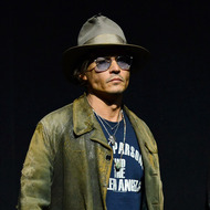 """LAS VEGAS, NV - APRIL 17:  Actor Johnny Depp appears at a Walt Disney Studios Motion Pictures presentation to promote the upcoming film """"The Lone Ranger"""" at The Colosseum at Caesars Palace during CinemaCon, the official convention of the National Association of Theatre Owners, on April 17, 2013 in Las Vegas, Nevada.  (Photo by Ethan Miller/Getty Images)"""