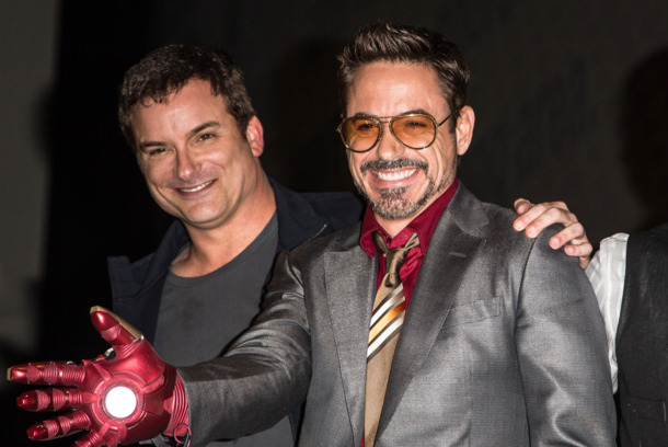 "Director Shane Black, actor Robert Downey, Jr. and actor Don Cheadle attend the ""Iron Man 3"" panel at San Diego Convention"