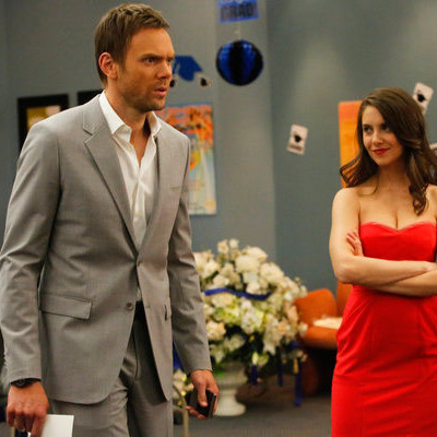 "COMMUNITY -- ""Advanced Intro To Finality"" Episode 411 -- Pictured: (l-r) Joel McHale as Jeff, Alison Brie as Annie -- (Photo by: Vivian Zink/NBC)"