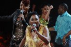 Ledisi and Sharon Jones perform onstage during VH1 Divas Celebrates Soul at Hammerstein Ballroom on December 18, 2011 in New York City.