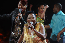 Ledisi and Sharon Jones perform onstage during VH1 Divas Celebrates Soul at Hammerstein Ballroom on December 18, 2011 in New York City.