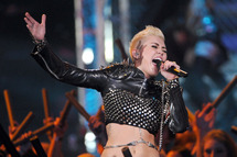 "Singer Miley Cyrus performs onstage during ""VH1 Divas"" 2012 at The Shrine Auditorium on December 16, 2012 in Los Angeles, California."