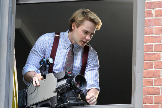 Taylor Kitsch throws a camera out the window while shooting 'The Normal Heart' in SoHo, NYC. <P> Pictured: Taylor Kitsch <P> <B>Ref: SPL560102  110613  </B><BR/> Picture by: Splash News<BR/> </P><P> <B>Splash News and Pictures</B><BR/> Los Angeles:	310-821-2666<BR/> New York:	212-619-2666<BR/> London:	870-934-2666<BR/> photodesk@splashnews.com<BR/> </P>