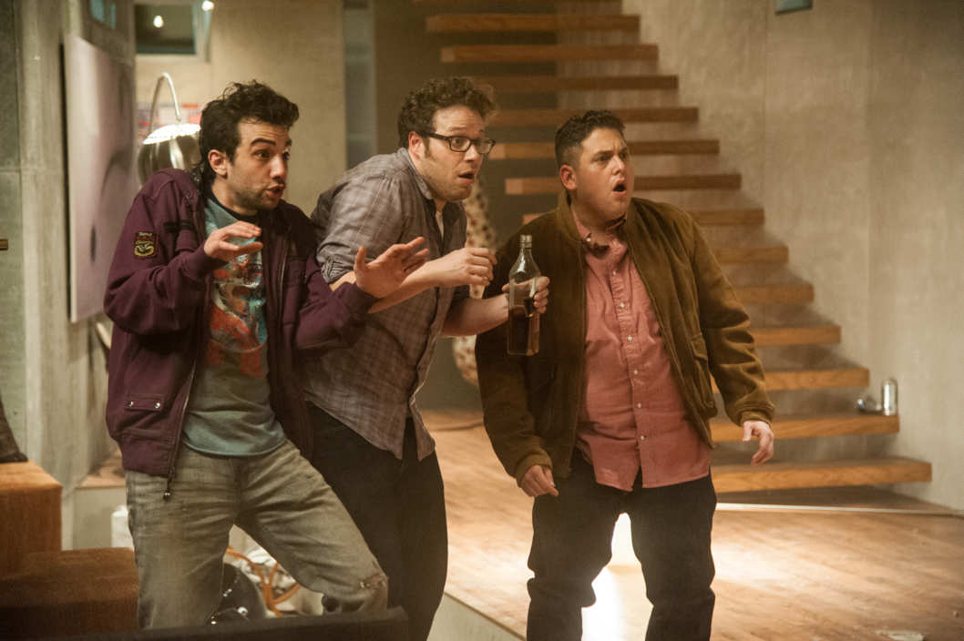 "L-r, Jay Baruchel, Seth Rogen and Jonah Hill in Columbia Pictures' ""The End of the World."""