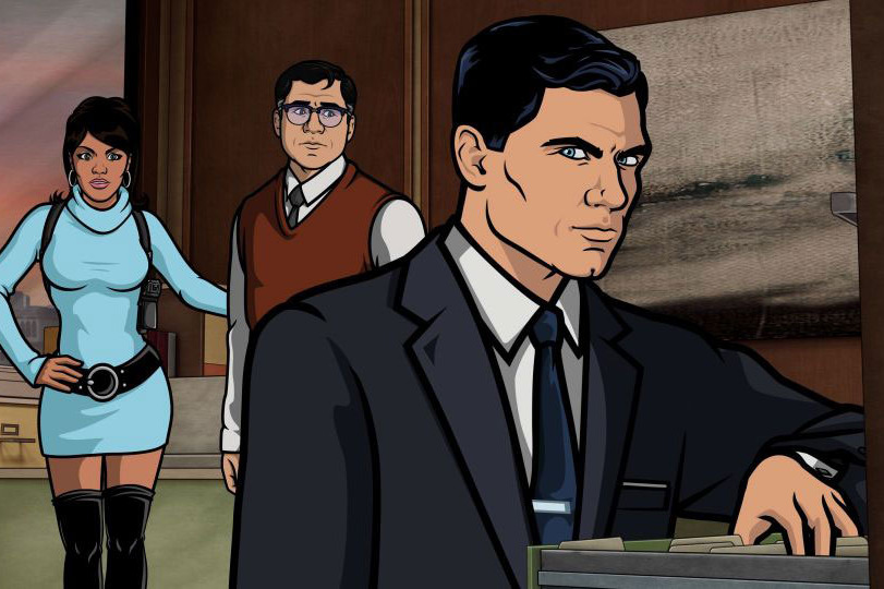 ARCHER: Episode 5, Season 4: Viscous Coupling (airing February 14, 10:00 pm e/p) Archer's former fiancee wants him to save her cyborg boyfriend who is trapped in outer space. Archer wants...other things.  Pictured: (L-R) Lana Kane (voice of Aisha Tyler), Cyril Figgis (voice of Chris Parnell, Sterling Archer (voice of H. Jon Benjamin). FX Network