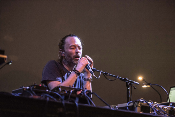 Thom Yorke of Atoms For Peace performs at La Gaite Lyrique on April 19, 2013 in Paris, France.