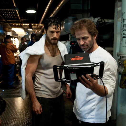 "(L-r) HENRY CAVILL and director ZACK SNYDER on the set of Warner Bros. Pictures' and Legendary Pictures' action adventure ""MAN OF STEEL,"" a Warner Bros. Pictures release."